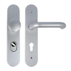 Long backplate security fitting with KZS, knob/handle 72 mm