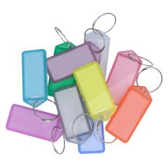 10 Schlüsselanhänger aus transparenten Kunststoff / aufklappbar