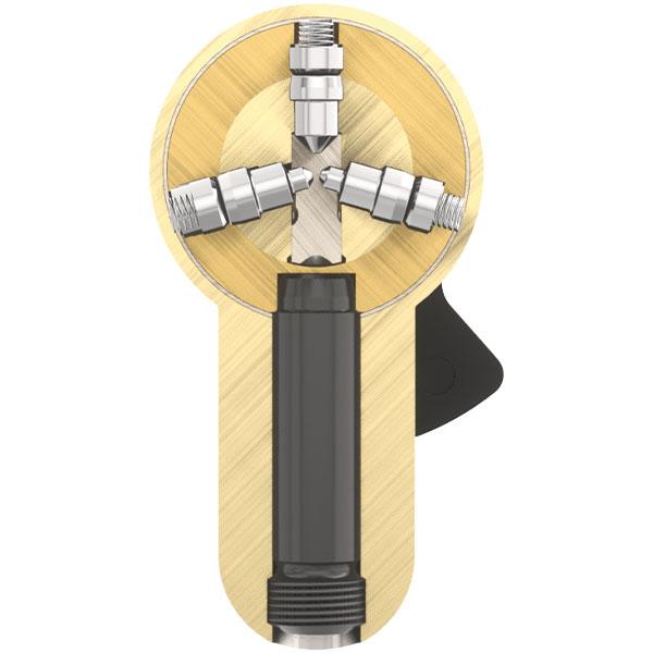 3 radial angeordnete Stiftreihen
