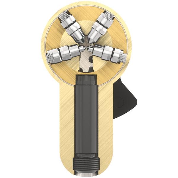 4 radial angeordnete Stiftreihen