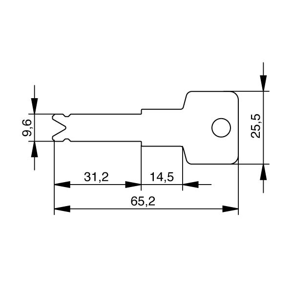 EVVA 3KS Schlüssel mit verlängertem Schlüsselhals