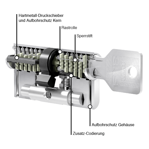 EVVA 3KSplus Zylinderquerschnitt