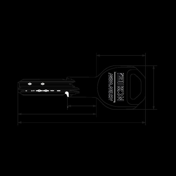 IKON RW6 Schlüssel Zeichnung